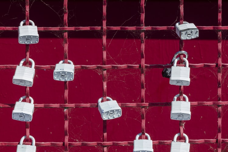 several locks with red background
